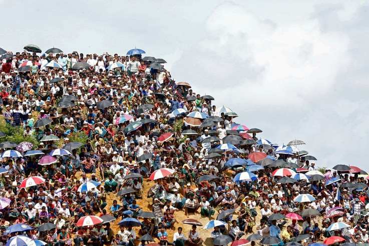 Rohingya refugees gather to mark the second anniversary of the exodus at the Kutupalong camp in Cox's Bazar, Bangladesh, August…