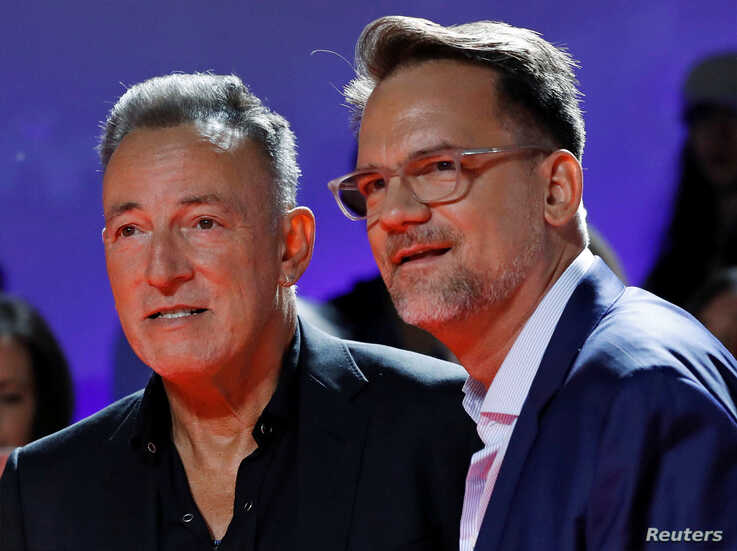 """Bruce Springsteen and director Thom Zimny arrive for the world premiere of """"Western Stars"""" at the Toronto International Film…"""