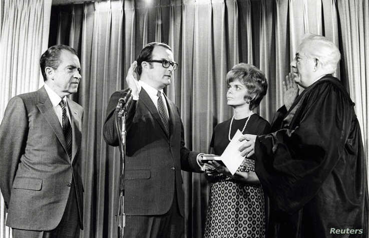 William Ruckelshaus is sworn in as the first Environmental Protection Agency Administrator by Chief Justice Warren Burger as…