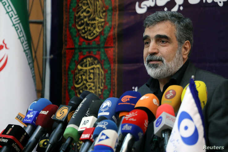 Behrouz Kamalvandi, spokesman for the Atomic Energy Organization of Iran speaks during news conference in Tehran, Iran…
