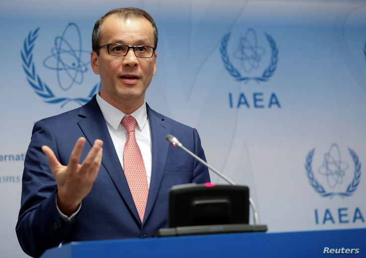 International Atomic Energy Agency (IAEA) acting head Cornel Feruta gestures as he addresses the media during a board of…