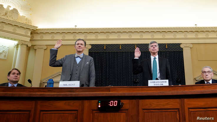 George Kent, deputy assistant secretary of state for European and Eurasian Affairs, and Ambassador Bill Taylor, charge d…