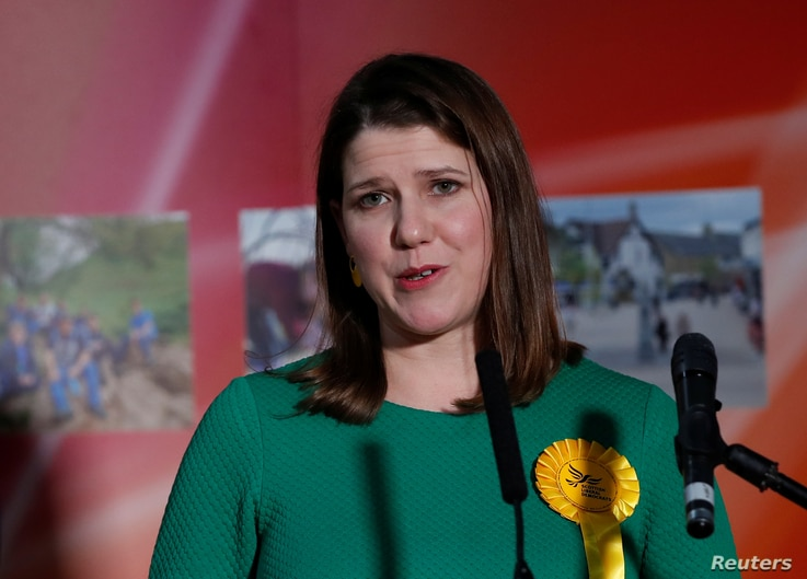 Liberal Democrats candidate Jo Swinson speaks after losing her seat in East Dunbartonshire constituency, at a counting centre…