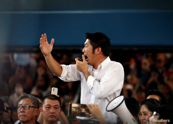 Thanathorn Juangroongruangkit of Thailand's progressive Future Forward Party talks to his supporters during an unauthorised…