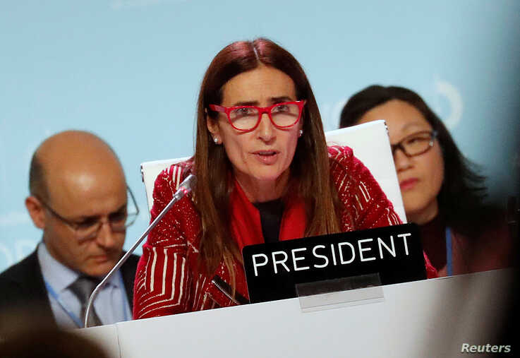 Carolina Schmidt, COP25 President and Chile's Minister of Environment, speaks at the U.N. Climate Change Conference (COP25) in…
