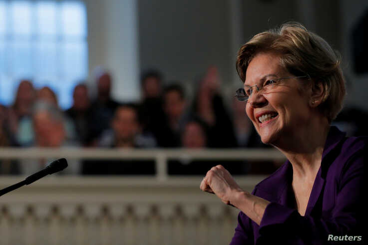FILE PHOTO: Democratic 2020 U.S. presidential candidate and U.S. Senator Elizabeth Warren (D-MA) delivers a speech, on the one…