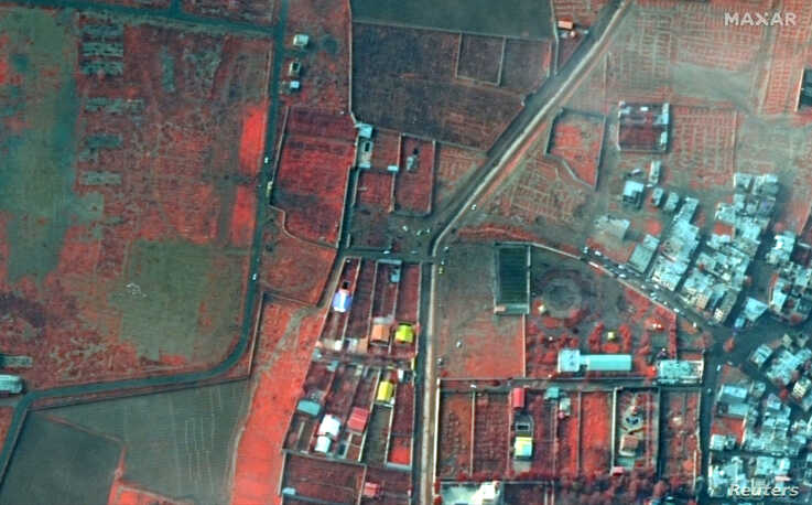 A colour-infrared view shows the area where an Ukraine International Airlines plane crashed after take-off from Iran's Imam…