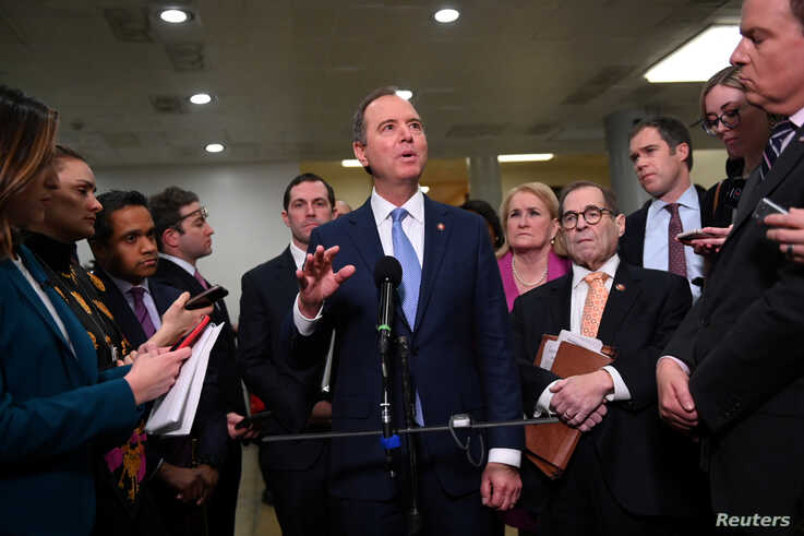 House of Representatives managers Intelligence Committee Chairman Adam Schiff (D-CA) and Judiciary Committee Chairman Jerry…