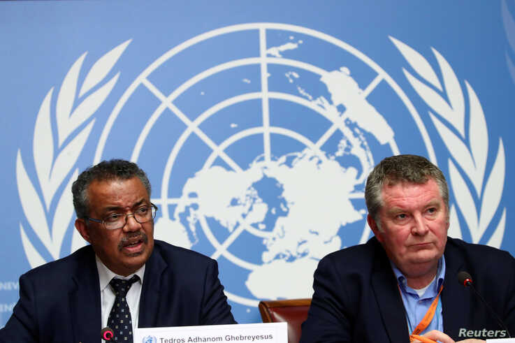 Director-General of the World Health Organization (WHO) Tedros Adhanom Ghebreyesus speaks next to Michael J. Ryan, Executive…