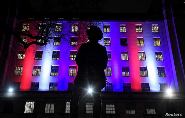 The Ministry of Defence building is illuminated on Brexit day in London, Britain January 31, 2020. REUTERS/Toby Melville