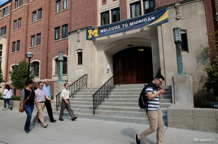 "A ""Welcome"" banner is seen on a University of Michigan building in Ann Arbor, Michigan, U.S., September 19, 2018.  Picture…"