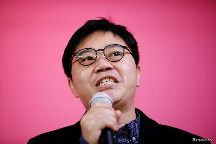 North Korean defector Ji Seong-ho speaks during an opening ceremony for an election campaign of the main opposition United…