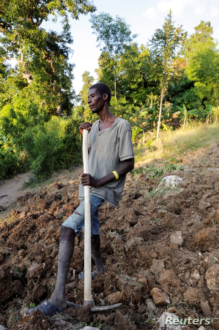 Farmhand Celavi Belor, 41, a father of five children, pauses from work in Jean-Rabel, Haiti January 31, 2020. Picture taken…