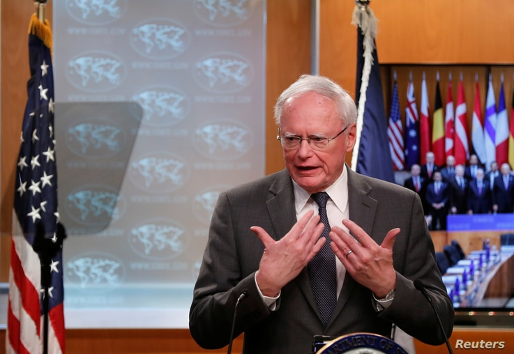 U.S. special envoy for Syria and the Global Coalition to Defeat ISIS Jim Jeffrey speaks during a news conference at the State…
