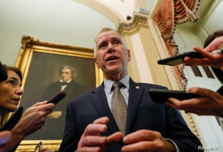 U.S. Senator Thom Tillis (R-NC) talks to reporters prior to the resumption of the Senate impeachment trial of U.S. President…