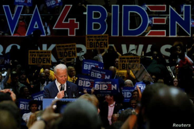Democratic U.S. presidential candidate and former U.S. Vice President Joe Biden speaks during a campaign event at Booker T…