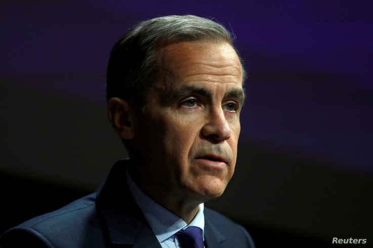 FILE PHOTO: The Governor of the Bank of England, Mark Carney, speaks to the Scottish Economics Forum, via a live feed, in…