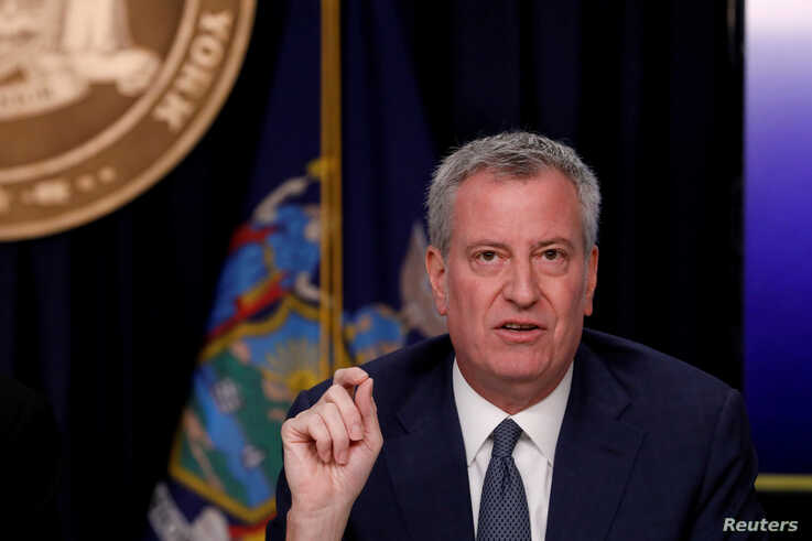 FILE PHOTO: FILE PHOTO: New York City Mayor Bill de Blasio is seen at a news briefing in the Manhattan borough of New York City…