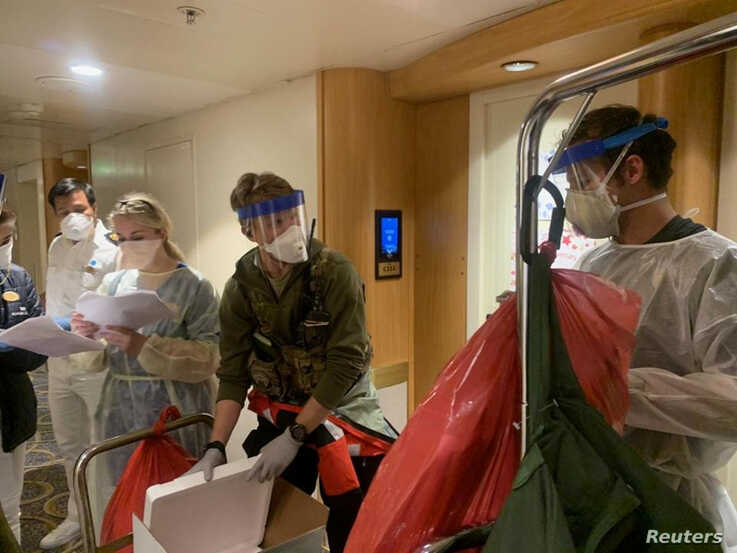 Medical personnel Guardian Angels with the 129th Rescue Wing, alongside individuals from the CDC don full personal protective…