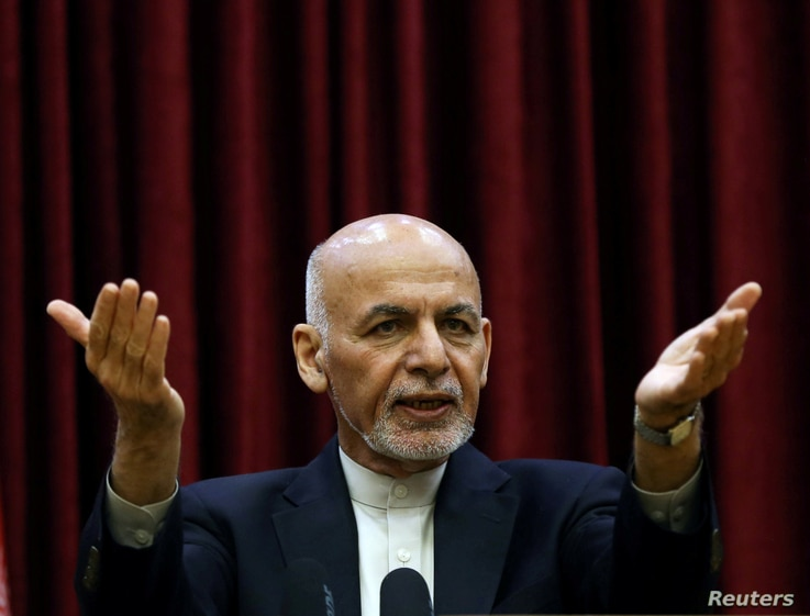 FILE PHOTO: Afghanistan's President Ashraf Ghani speaks during a news conference in Kabul, Afghanistan March 1, 2020.  REUTERS…