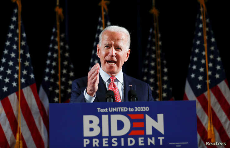 Democratic U.S. presidential candidate and former Vice President Joe Biden speaks about the COVID-19 coronavirus pandemic at an…