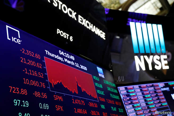 A price screen display above the floor of the New York Stock Exchange (NYSE) after the close of trading in New York, U.S.,…