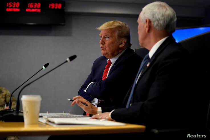 U.S. President Donald Trump attends a teleconference with governors to discuss partnerships to ?prepare, mitigate and respond…