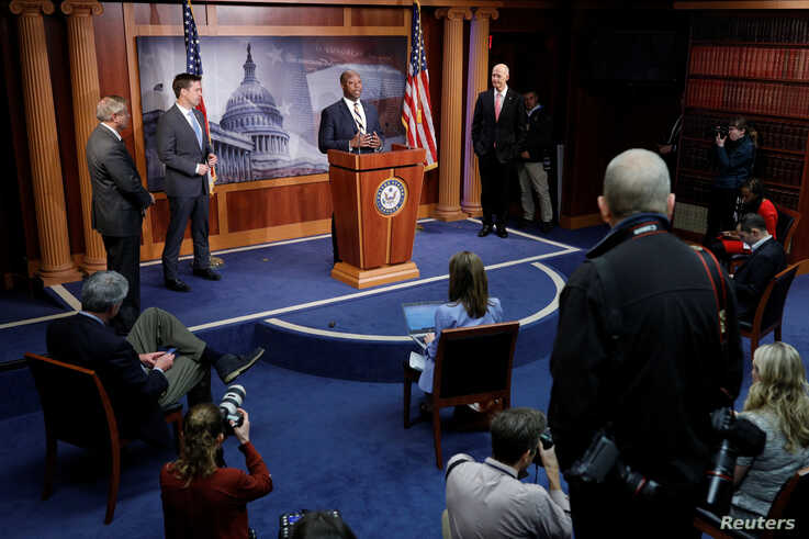 Senator Tim Scott (R-SC) delivers remarks during a news conference on the coronavirus relief bill, on Capitol Hill in…