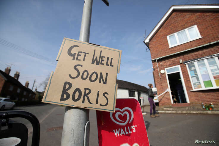 A sign of support for British Prime Minister Boris Johnson, who has been in hospital since Monday  as the spread of the…