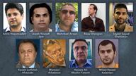 Nine of at least 13 Iranians in U.S. detention or under U.S. court-ordered restrictions on movement who could be part of a future prisoner swap with Iran. (Courtesy Reuters, Tasnim, UK National Crime Agency, social media, law enforcement agencies)