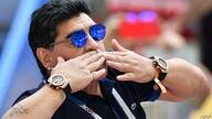 (FILES) In this file photo taken on June 30, 2018 retired Argentine player Diego Maradona attends the Russia 2018 World Cup…