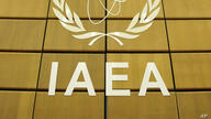 The logo of the IAEA is seen prior to the International Atomic Energy Agency, IAEA, 35-nation board meeting at Vienna's…