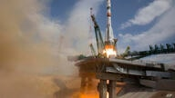 In this handout photo released by Roscosmos Space Agency Press Service the Soyuz-2.1A rocket booster with Soyuz MS-16 space…