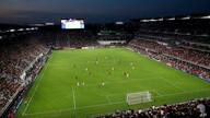 D.C. United and Vancouver Whitecaps play during the first half of an MLS soccer match, in this general view of Audi Field,…