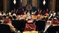 Kuwait's emir, Sheikh Sabah Al Ahmad Al Sabah, center, oversees the Gulf Cooperation Council summit in Kuwait City, Tuesday,…