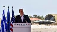 US Secretary of State Mike Pompeo delivers a speech during his visit at the Naval Support Activity base at Souda, on the Greek…
