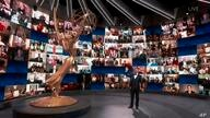 IMAGE DISTRIBUTED FOR THE TELEVISION ACADEMY - Host Jimmy Kimmel speaks on stage during the 72nd Emmy Awards telecast on Sunday…
