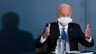 President-elect Joe Biden, speaks during a meeting with Vice President-elect Kamala Harris, Senate Minority Leader Chuck…