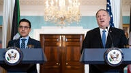 Secretary of State Mike Pompeo and Kuwaiti Foreign Minister Sheikh Ahmad Nasser Al-Mohammad Al-Sabah, speak to the media prior…