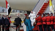 Pope Francis arrives at Baghdad's international airport, Iraq, Friday, March 5, 2021. Pope Francis heads to Iraq on Friday to…