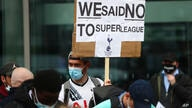 Tottenham fans stage a protest against the Board over the planned creation of a European Super League, outside the Tottenham…