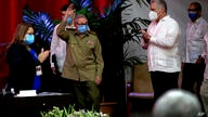 Raul Castro, first secretary of the Communist Party and former president, waves to members at the VIII Congress of the…