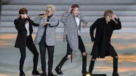 K-pop group WINNER perform during the 1st anniversary festival of the Pyeongchang Winter Olympics and Paralympics at Gangneung…