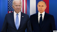 Joe Biden, as US President, and Vladimir Putin, as Russia president (l-r), over US and Russian flags, on texture, partial…