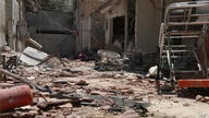 A heavily damaged hospital is seen in the city of Afrin, Syria, Sunday, June 13, 2021. Shells have hit the hospital Saturday,…