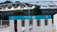 A man enters Rome's Olympic stadium, Wednesday, June 9, 2021. The Euro 2020 gets underway on Friday June 11 and is being played…