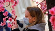 A woman wearing a face mask to help curb the spread of the coronavirus takes photo of fake flowers at the GUM, the State…