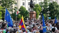 Protesters gather in downtown Budapest, Hungary, Saturday, June 5, 2021. Thousands of people gathered opposing the Hungarian…