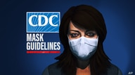 CDC logo and 3D model of woman wearing face mask, drawing with MASK GUIDANCE lettering, finished graphic