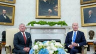 President Joe Biden, right, meets with Jordan's King Abdullah II, left, in the Oval Office of the White House in Washington,…